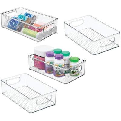 mDesign Stackable Plastic Storage Organizer (4-Pack)