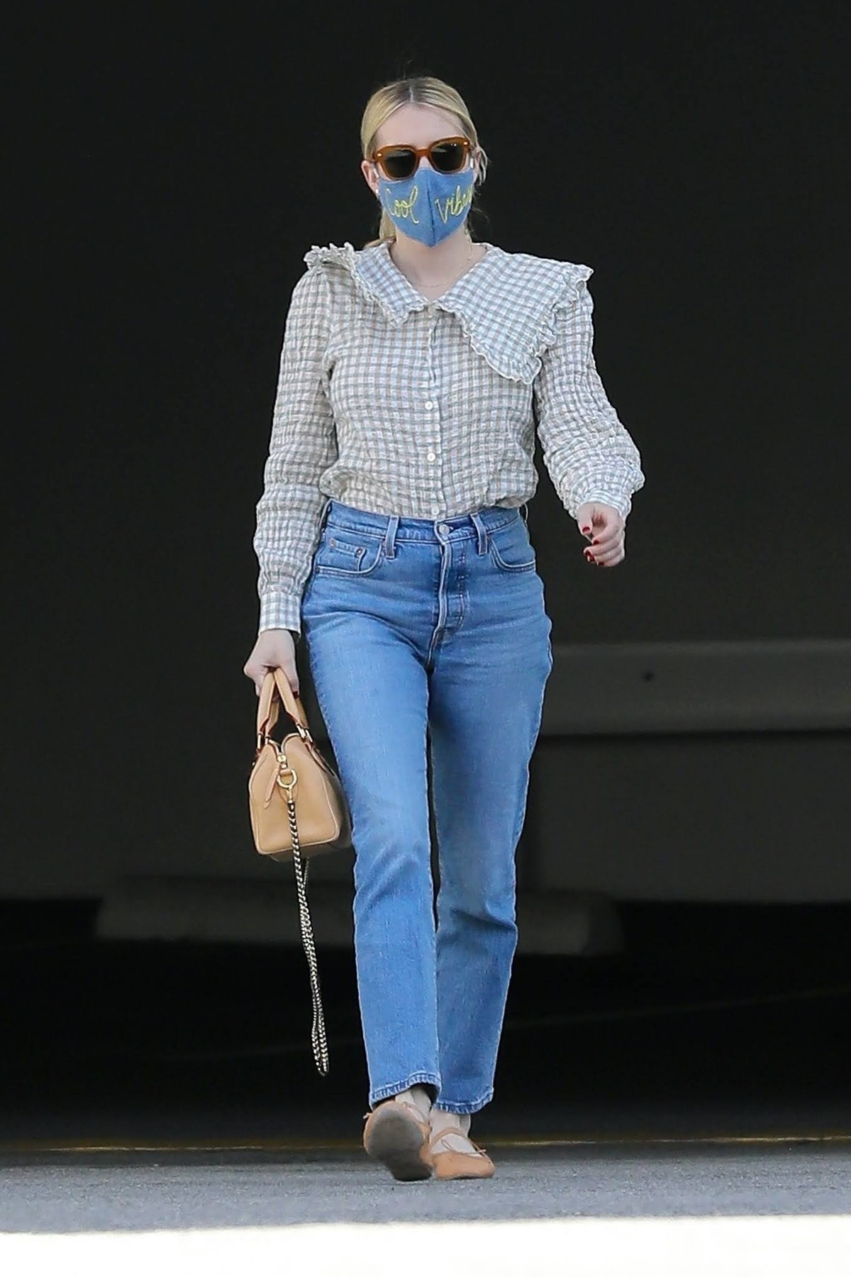 Emma Roberts wearing denim in West Hollywood in April 2021.