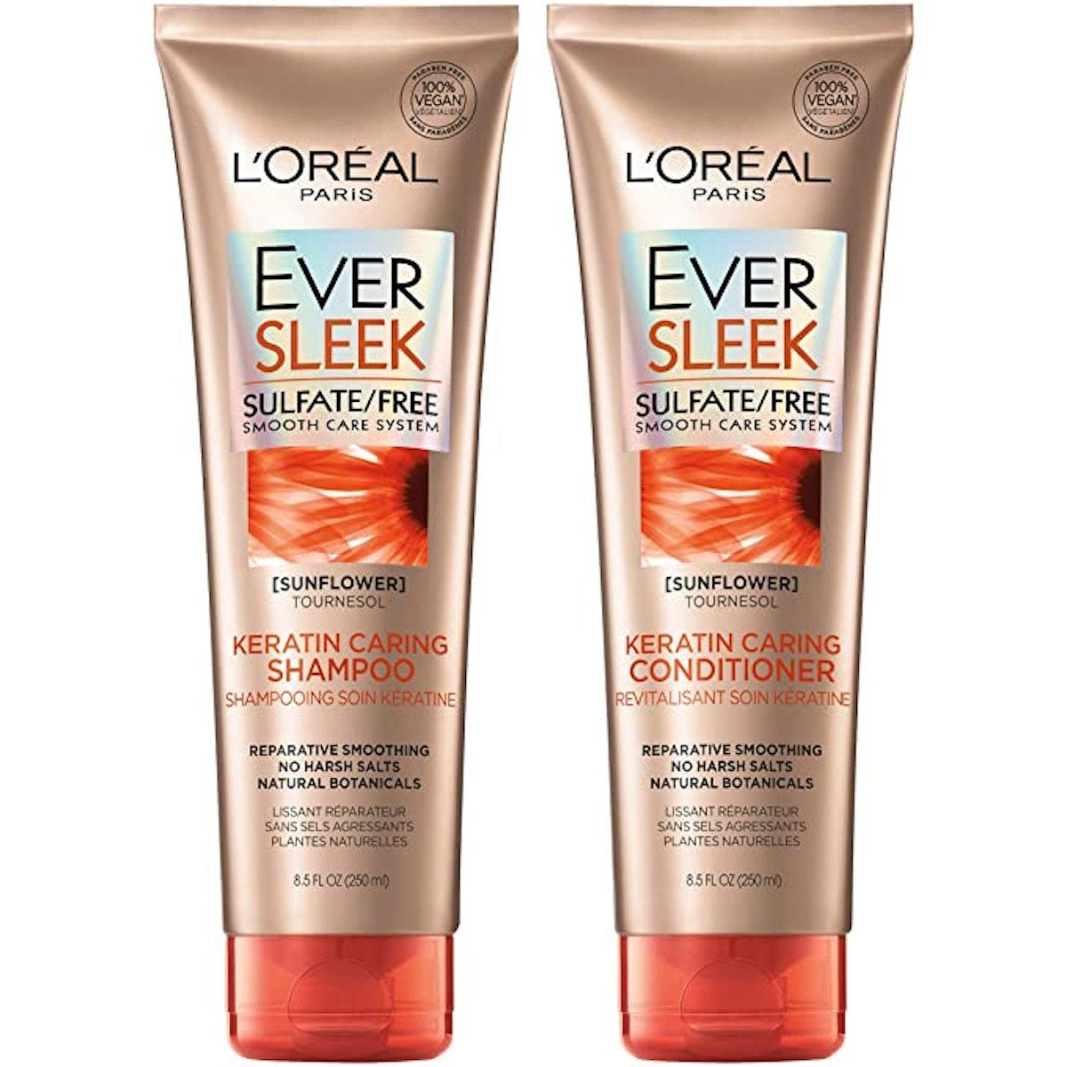 L'Oréal Paris EverSleek Keratin Caring Shampoo & Conditioner