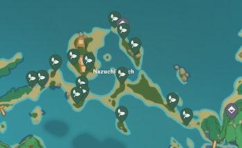 Dendrobium spawn locations Genshin Impact Nazuchi Beach.