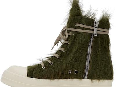 Rick Owens green calf hair Phlegethon sneakers