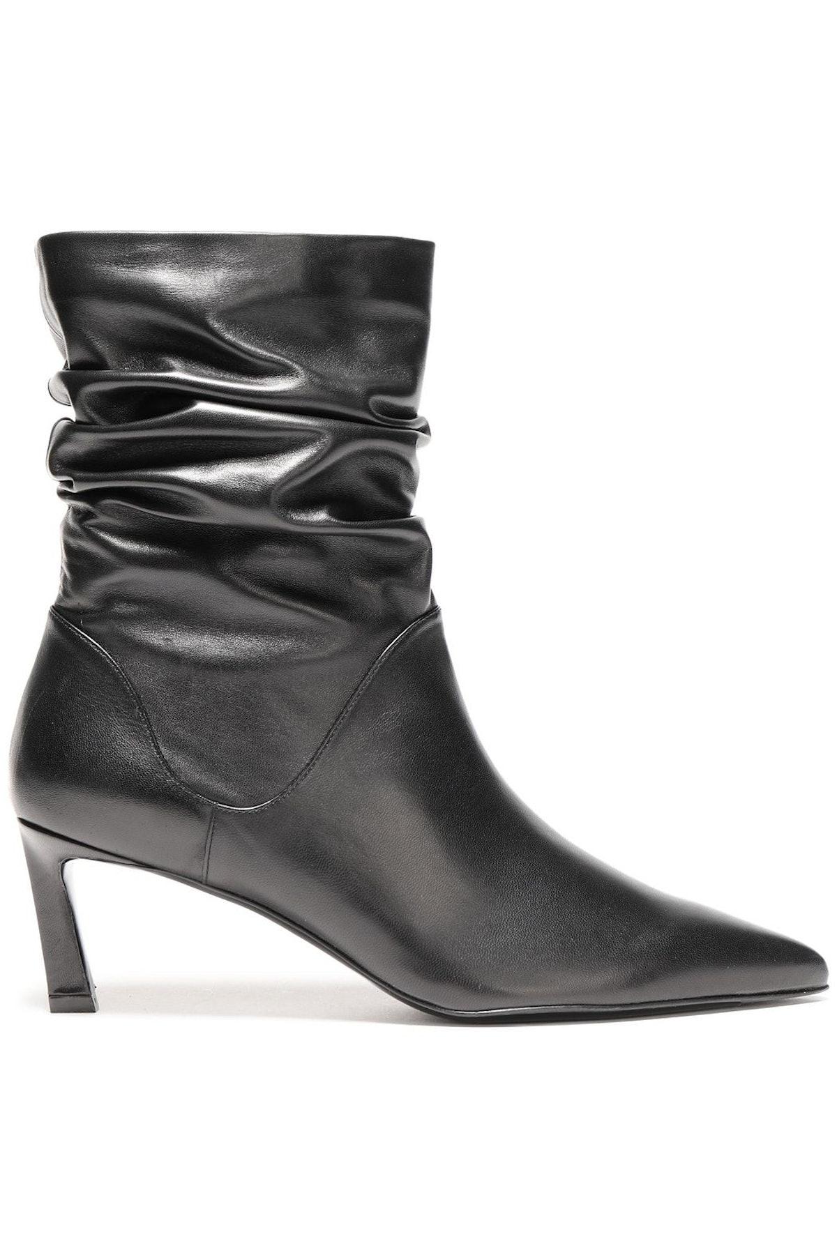 Stuart Weitzman Demi Gathered Leather Ankle Boots