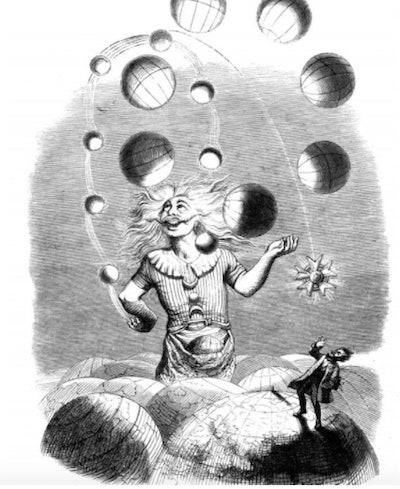 Illustration of a man juggling planets