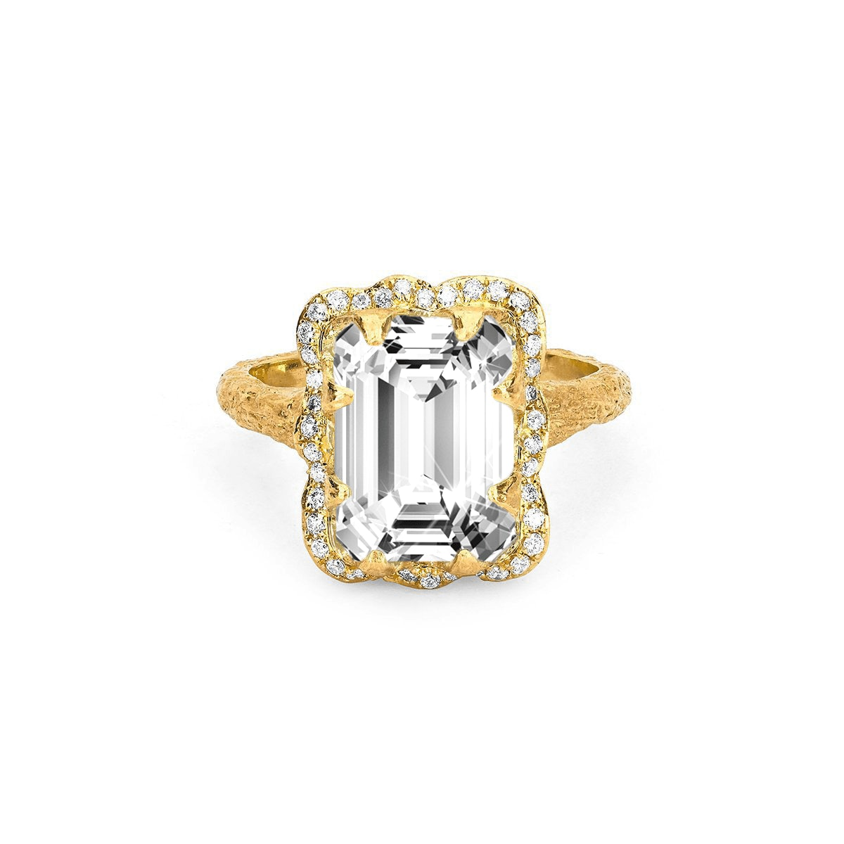 Queen Emerald Cut Diamond Setting with Full Pavé Halo from Logan Hollowell.