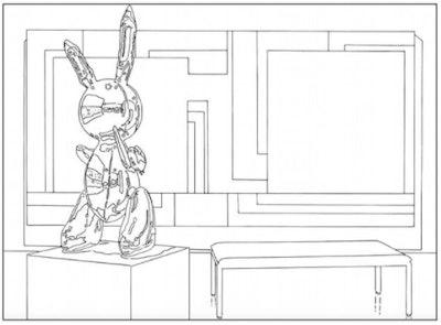 Illustration of Jeff Koons bunny sculpture