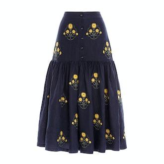 Agua by Agua Bendita Ciruela Embroidered Linen Midi Skirt