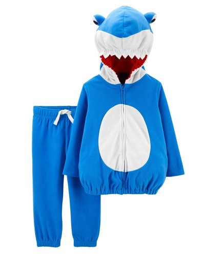 Image of a toddler shark costume with blue pants and a hooded sweatshirt.
