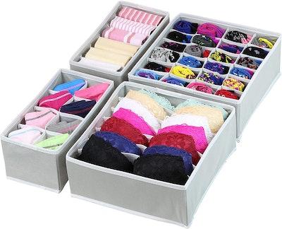 Simple Houseware Underwear Organizer Drawer Divider (Set of 4)