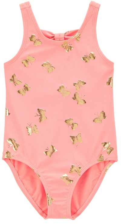 Image of a pink toddler one-piece bathing suit with gold butterflies.