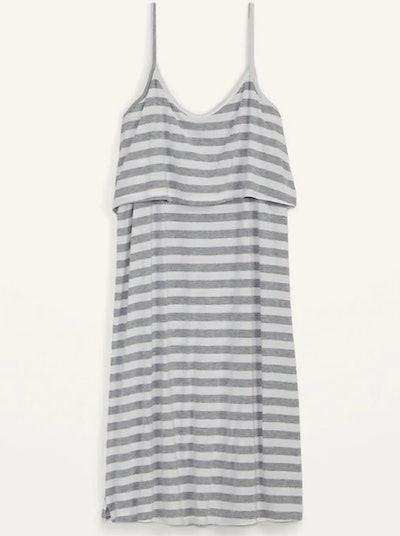 Nursing nightgown, midrise, spaghetti straps, white with thick grey stripes