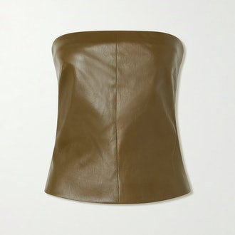 Rosetta Getty Strapless Leather Top