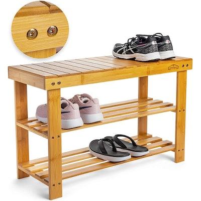 Homemaid Living Bamboo 3-Tier Shoe Rack Bench