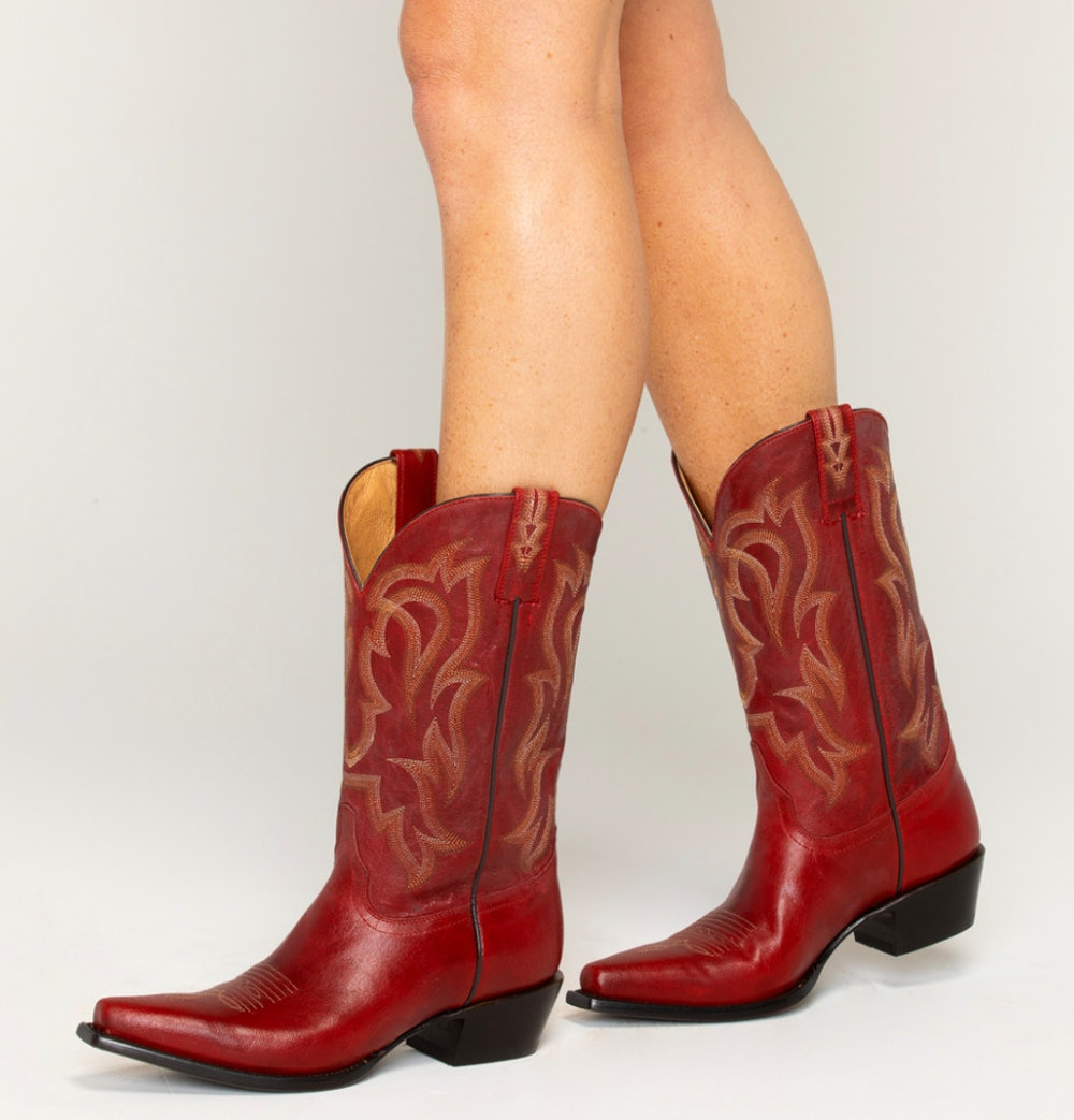 """12"""" RED LEATHER SNIP TOE WESTERN BOOTS"""