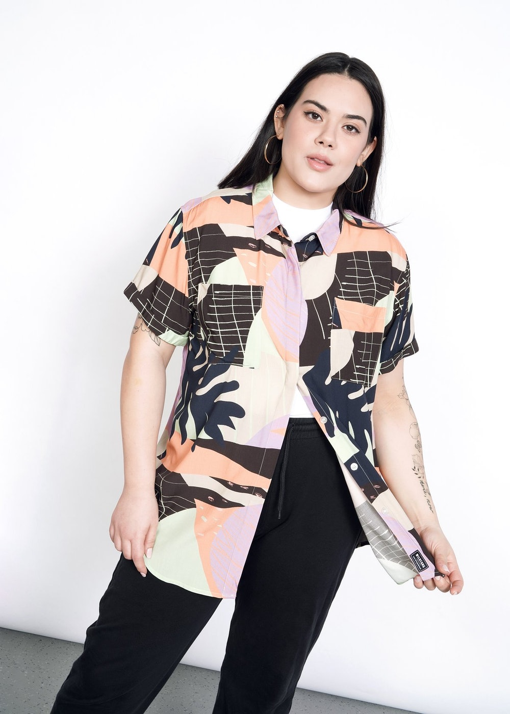 The Empower Tropical Short Sleeve Button Up