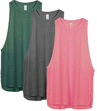 Three women's muscle tank tops; Green, Grey, and Pink