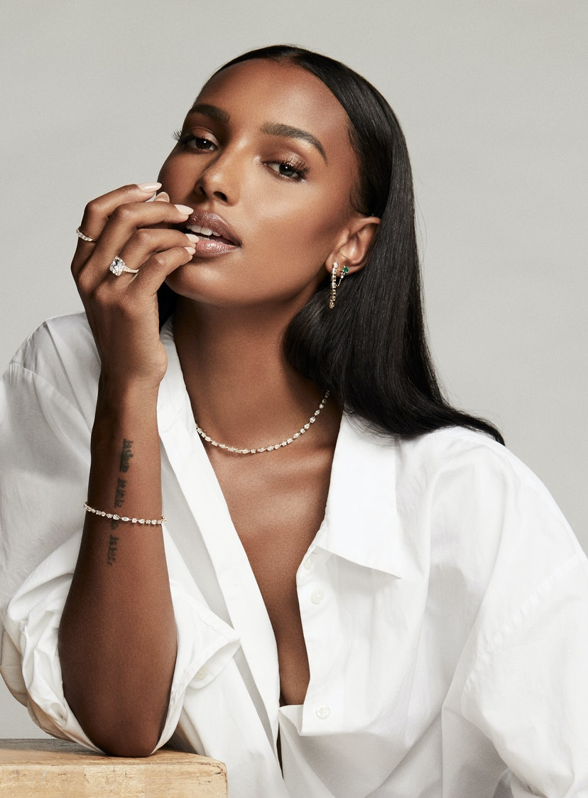 Jasmine Tookes stars in jeweler Logan Hollowell's latest campaign for bridal jewelry, 2021.