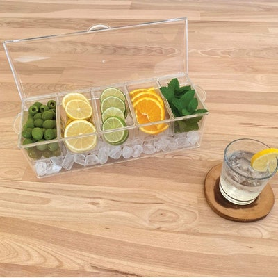 Evelots Ice-Chilled Condiment Tray