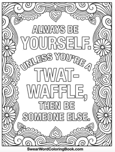 Coloring Page with the words twat-waffle