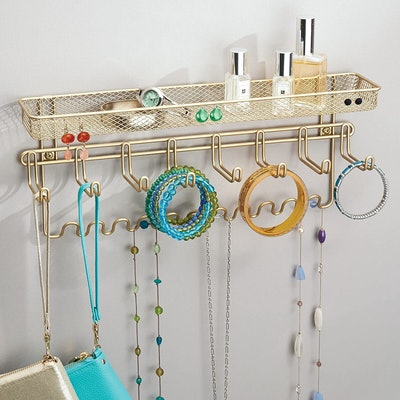 mDesign Wall-Mounted Shelf and Hooks