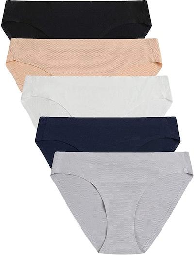 VOENXE Seamless Breathable Stretch Bikini Panties (5-Pack)