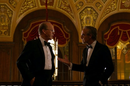 Michael Keaton as Kenneth Feinberg and Stanley Tucci as Charles Wolf in Netflix's 'Worth.' Photo cou...