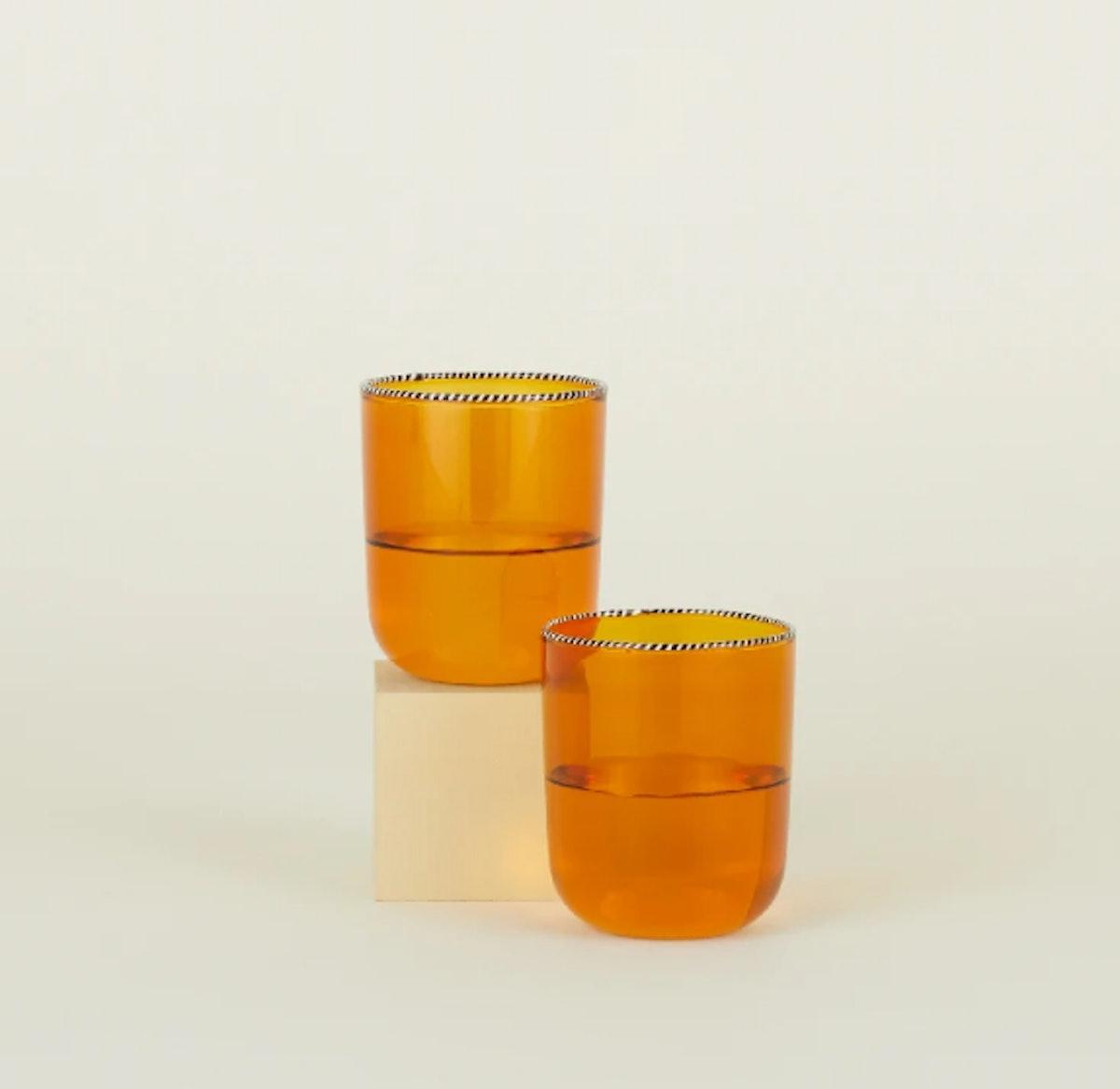 Striped Rim Glass Set