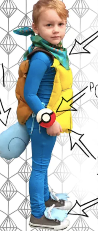 Child wearing a Squirtle costume