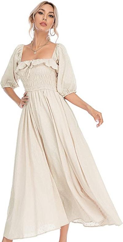 R.Vivimos Half Sleeve Cotton Ruffled Dress