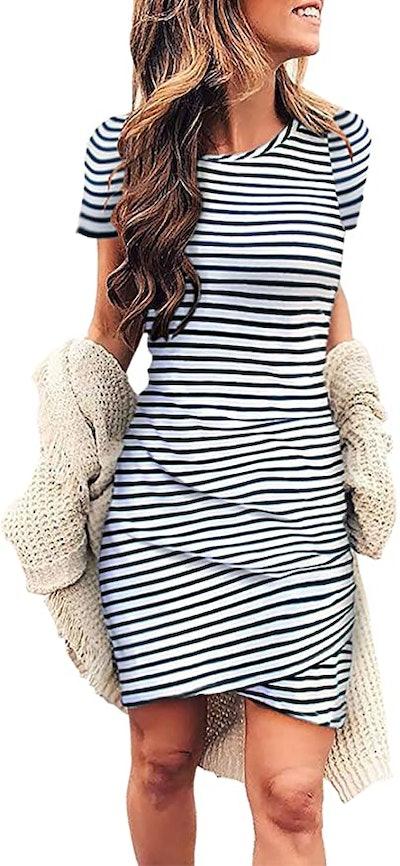 BTFBM Ruched Bodycon T Shirt Mini Dress