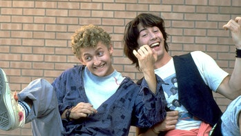 Alex Winter and Keanu Reeves air-jamming out in Bill & Ted's Excellent Adventure