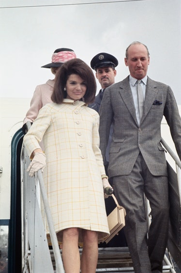Jackie Kennedy getting off an airplane