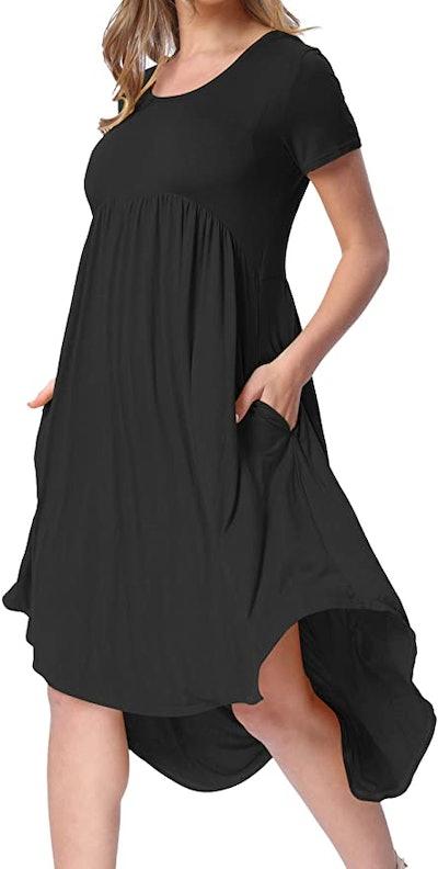 levaca Pockets Pleated Loose Swing Casual Midi Dress