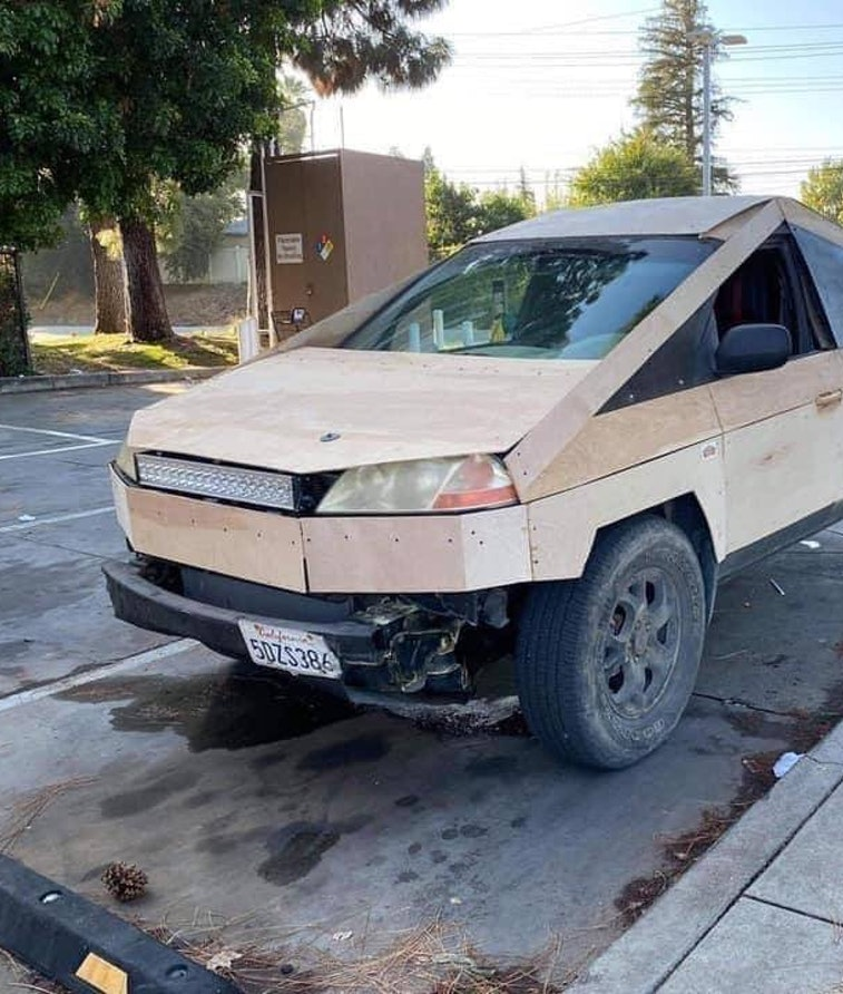 The Plybertruck, a Tesla Cybertruck knockoff made out of wood. Electric vehicles. EV. EVs. Electric ...