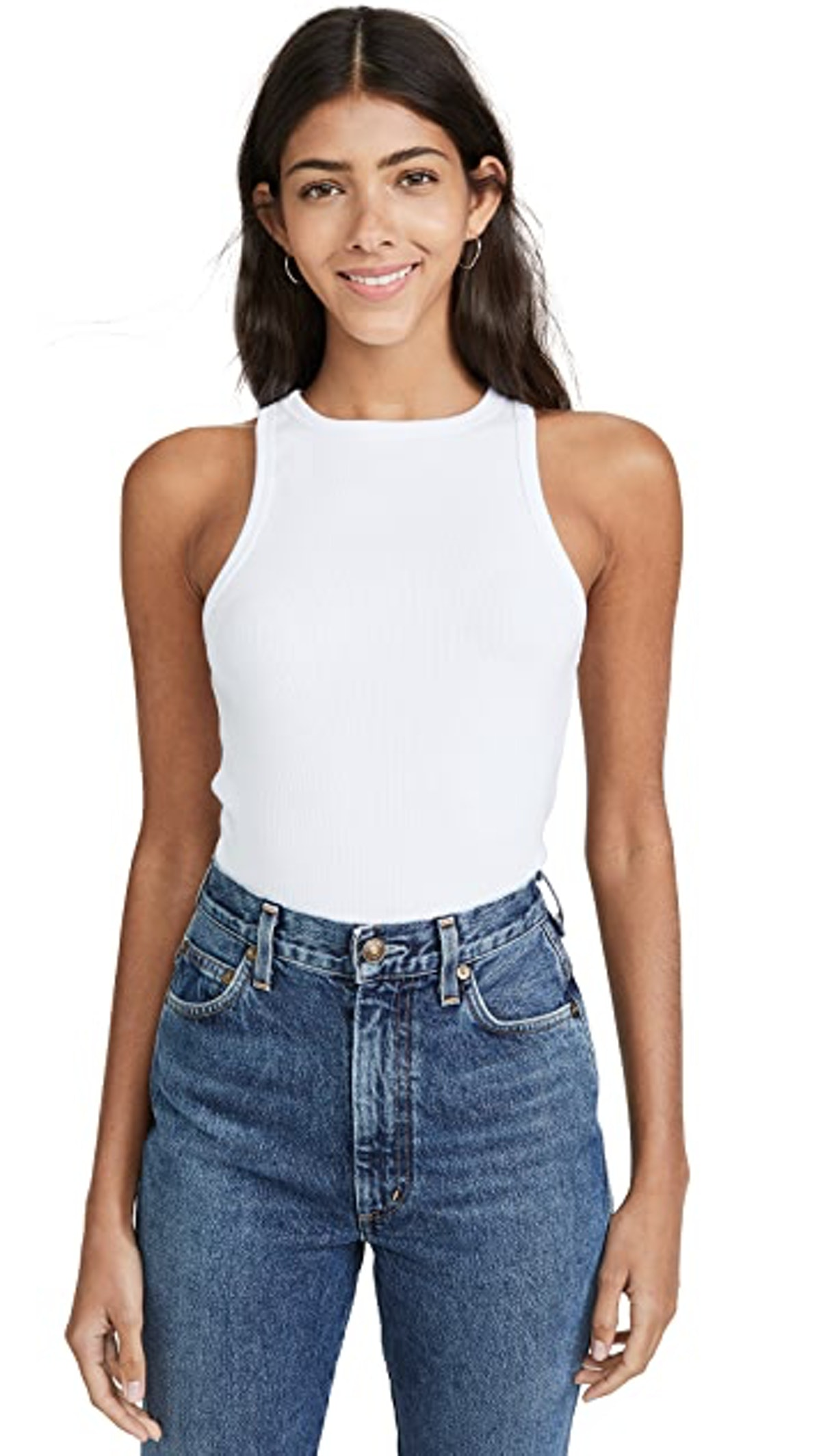 AGOLDE's white ribbed tank top.