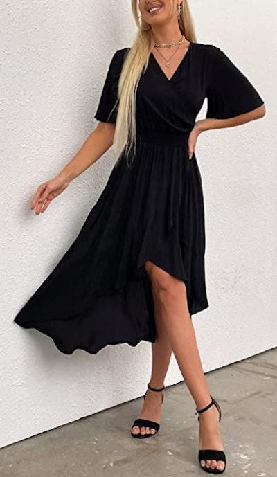 Kormei V-Neck Flowy Party Maxi Dress