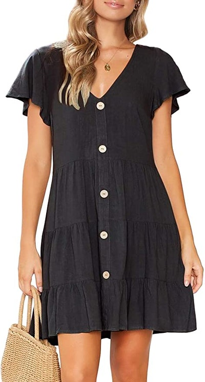 MITILLY  V-Neck Button-Down Dress