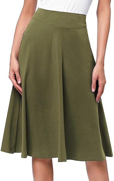 Kate Kasin Flared Midi Skirt