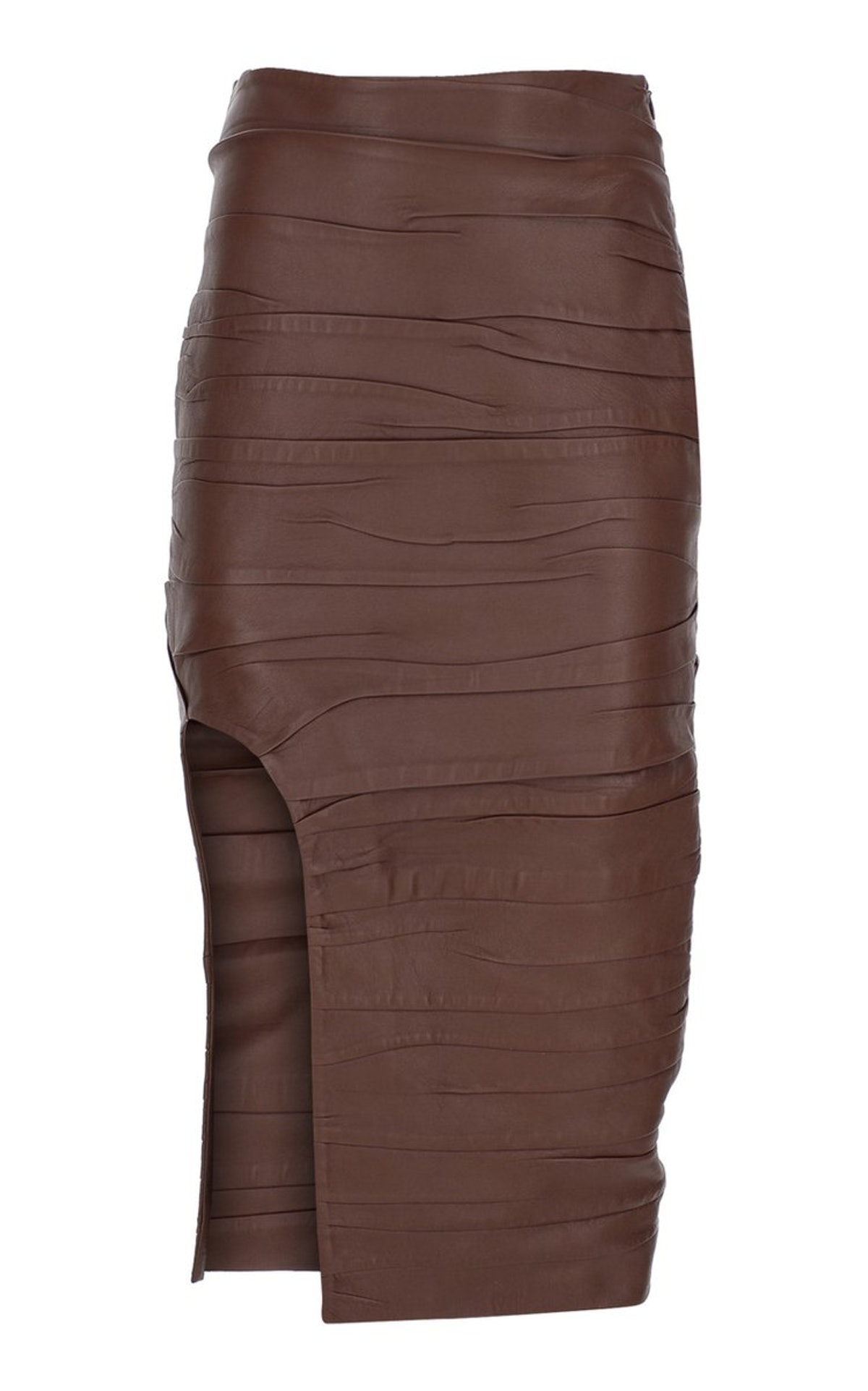 Zeynep Arçay Ruched Leather Midi Skirt