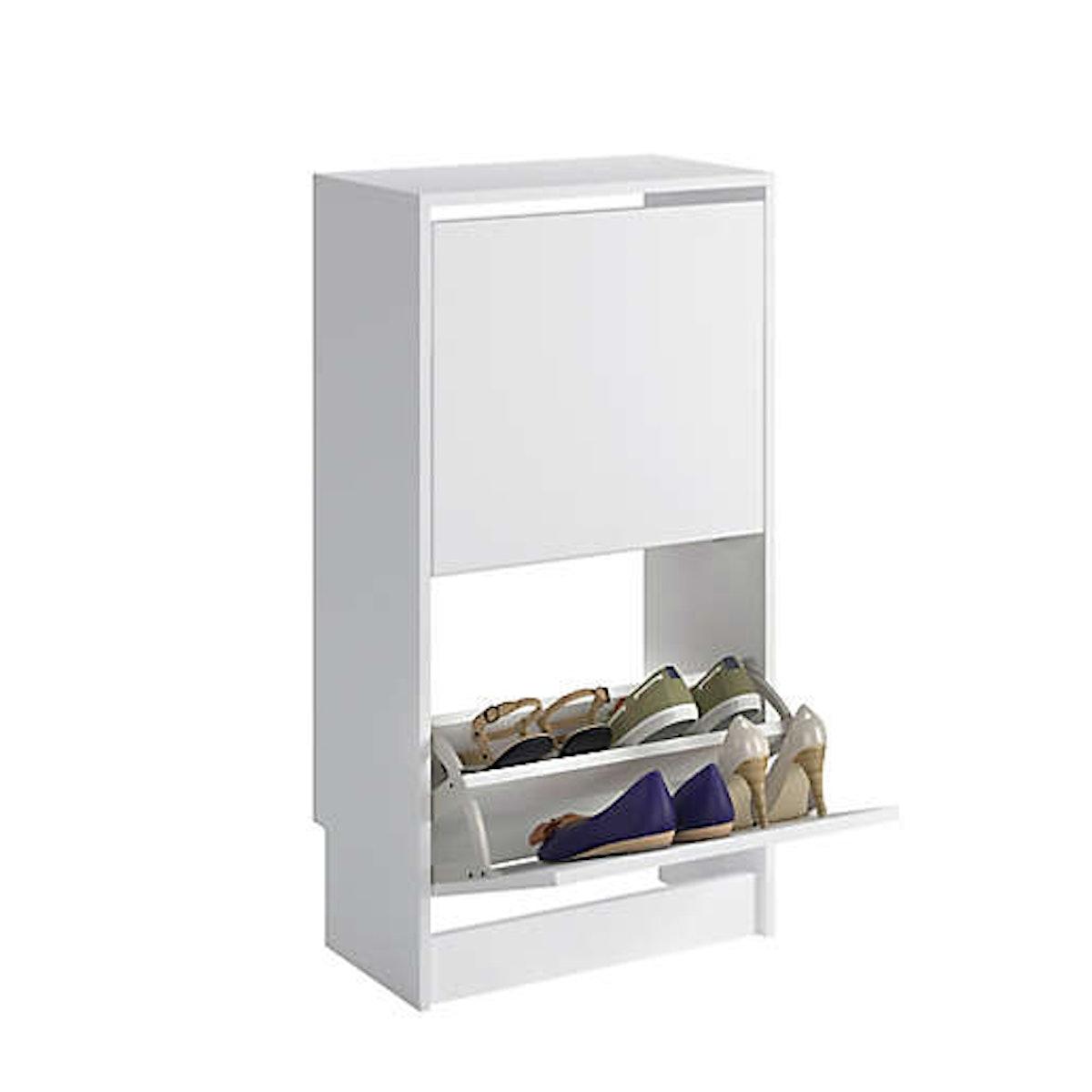 Sauder Tilting Door Shoe Storage in White