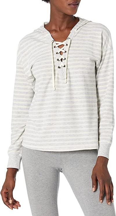 Mae Loungewear Lace Up Sweatshirt with Hood