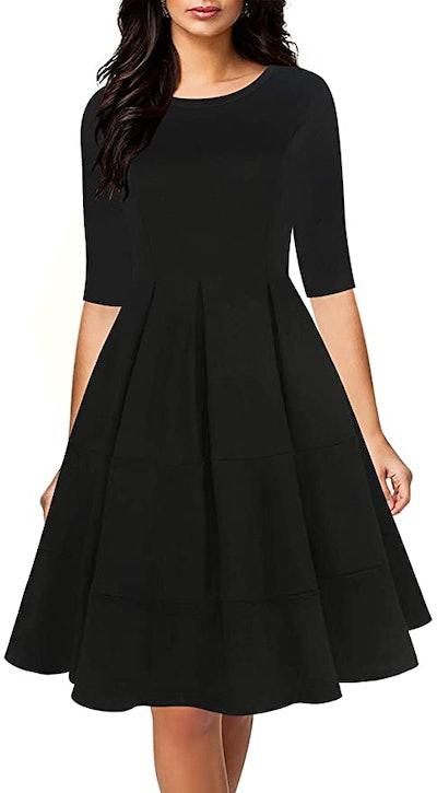 oxiuly Vintage Half Sleeve Swing Dress