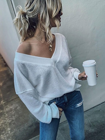 Adreamly Waffle-Knit Off-Shoulder Top