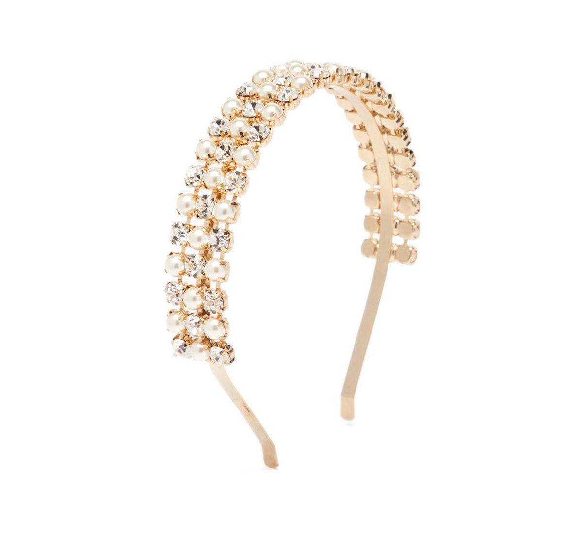 Polka Crystal and Faux-Pearl Headband