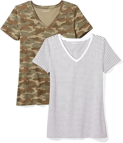 Amazon Essentials Classic-Fit Short-Sleeve V-Neck T-Shirt (2-Pack)