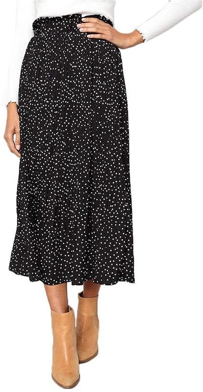 EXLURA High Waist Polka Dot Pleated Skirt