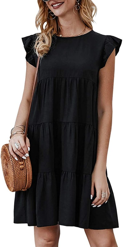 KIRUNDO Sleeveless Ruffle Sleeve Round Neck Mini Dress