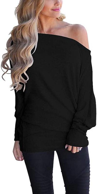 Lacozy Off Shoulder Long Sleeve Oversized Sweater