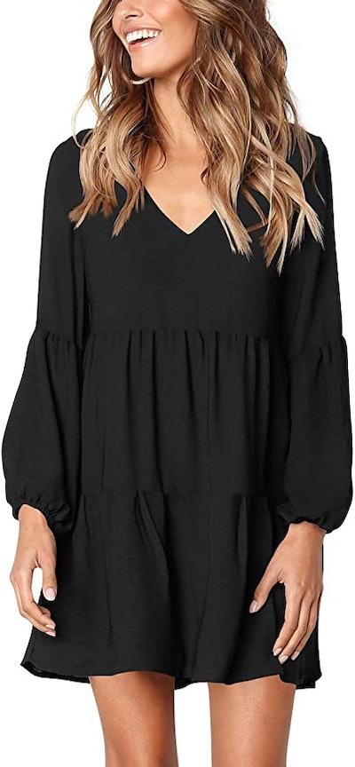 Cosonsen Long Sleeve V Neck Dress