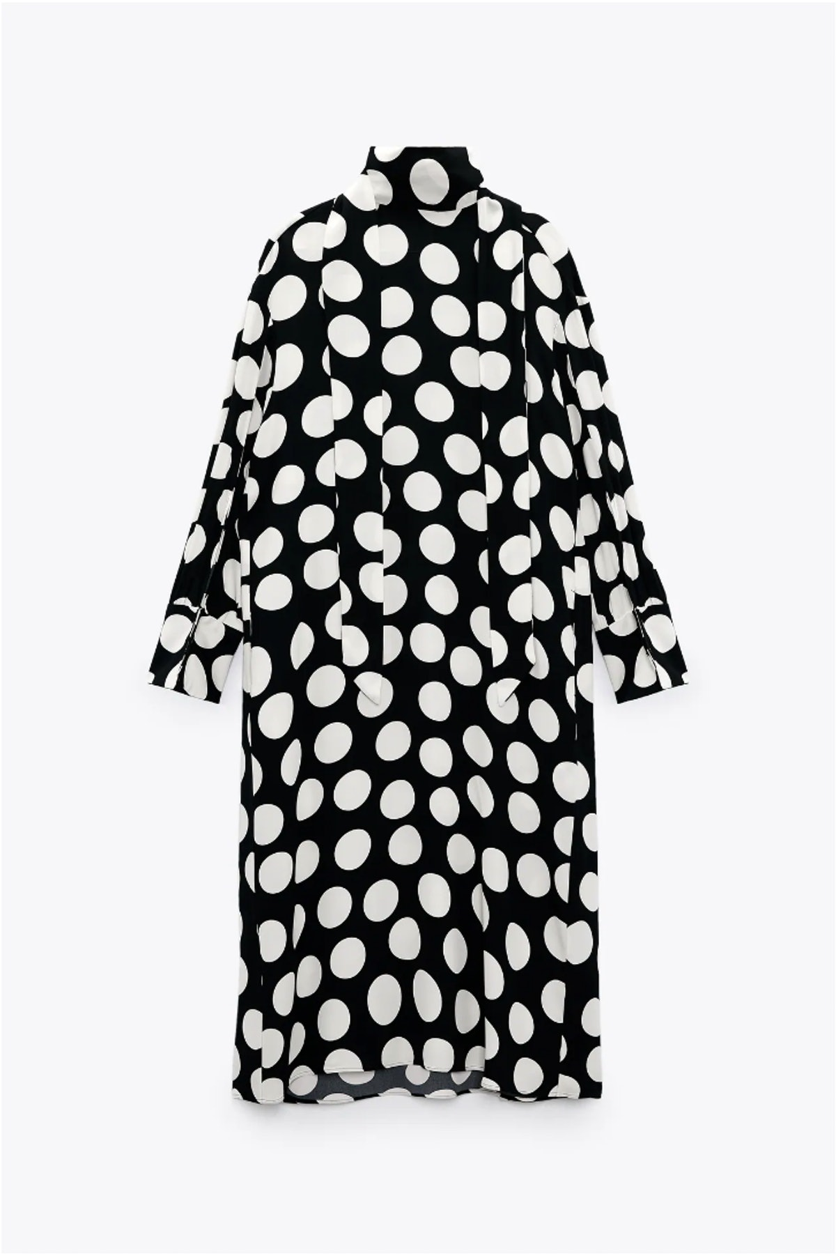 Zara's black and white polka dot tunic dress.