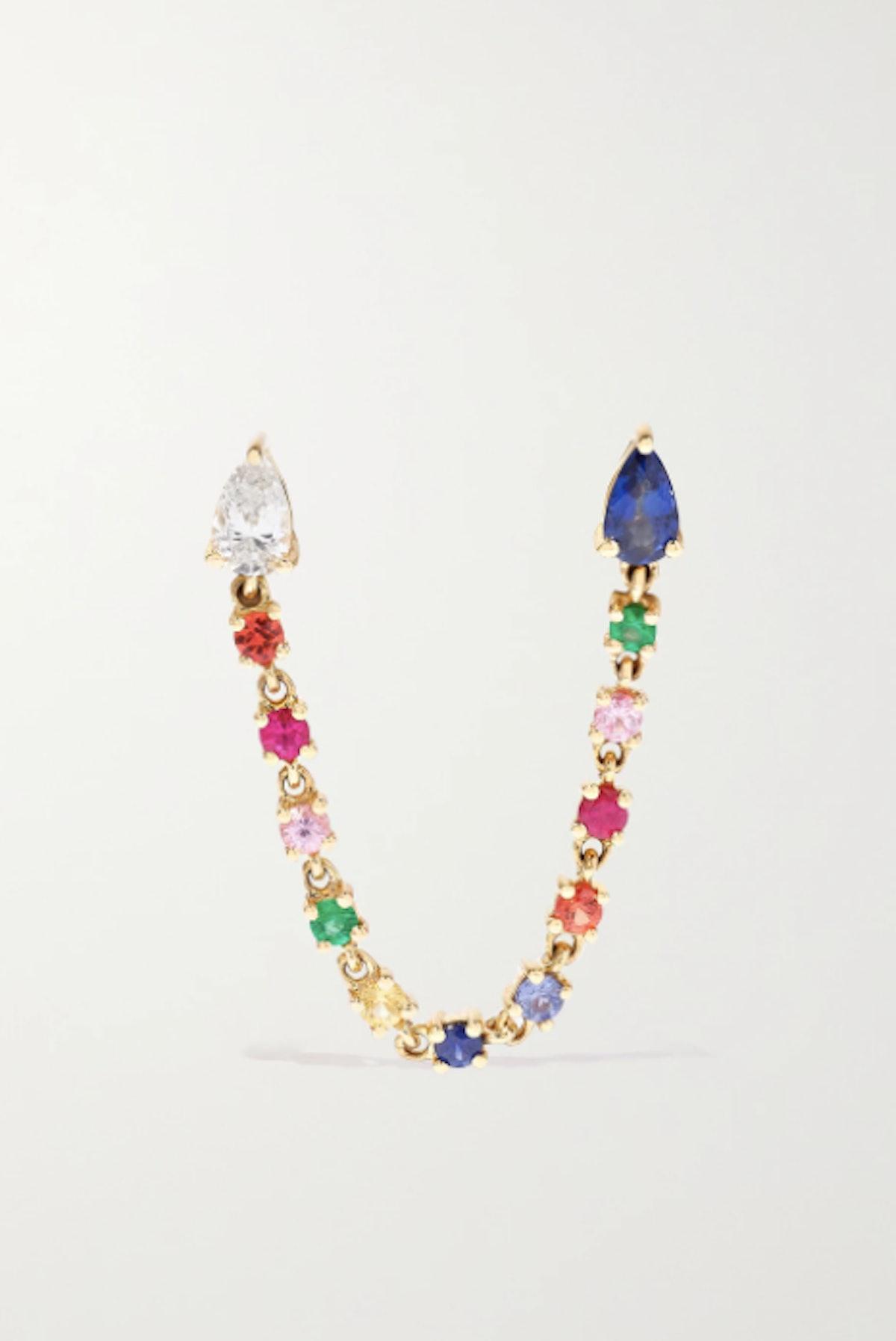ANITA KO 18-karat gold, sapphire and diamond earring